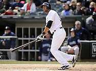 CHICAGO - APRIL 06:  Alex Rios #51 of the Chicago White Sox hits a home run in the sixth inning against the Seattle Mariners on April 06, 2013 at U.S. Cellular Field in Chicago, Illinois.  The White Sox defeated the Mariners 4-3.  (Photo by Ron Vesely)   Subject:  Alex Rios