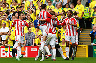 Kenwyne Jones of Stoke scores his sides equalising goal and celebrates during the Barclays Premier League match at Carrow Road Stadium, Norwich, Norfolk...Picture by Paul Chesterton/Focus Images Ltd.  07904 640267.21/8/11