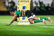 Luther Burrell of Northampton Saints scoring a try during the Aviva Premiership match at Franklin's Gardens, Northampton<br /> Picture by Andy Kearns/Focus Images Ltd 0781 864 4264<br /> 05/09/2014