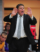 November 27, 2011; Moraga, CA, USA; San Francisco State Gators head coach Paul Trevor instructs during the first half of the Shamrock Office Solutions Classic against the Saint Mary's Gaels at McKeon Pavilion.