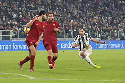 December 23, 2017 - Turin, Piedmont, Italy - Giorgio Chiellini (Juventus FC) in action during the Series A football match between Juventus FC and AS Roma at Allianz Stadium on 23 December, 2017 in Turin, Italy. .Juventus won 1-0 over Roma. (Credit Image: © Massimiliano Ferraro/NurPhoto via ZUMA Press)