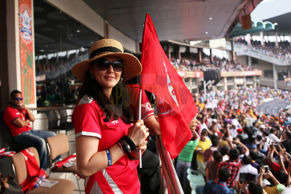 KXIP co-owner Preety Zinta at her box during the first qualifier match (QF1) of the Pepsi Indian Premier League Season 2014 between the Kings XI Punjab and the Kolkata Knight Riders held at the Eden Gardens Cricket Stadium, Kolkata, India on the 28th May  2014<br /> <br /> Photo by Saikat Das / IPL / SPORTZPICS<br /> <br /> <br /> <br /> Image use subject to terms and conditions which can be found here:  http://sportzpics.photoshelter.com/gallery/Pepsi-IPL-Image-terms-and-conditions/G00004VW1IVJ.gB0/C0000TScjhBM6ikg