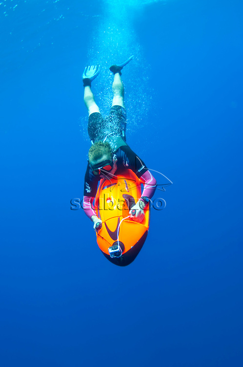 Roger Munns on a Sea Bob cruising underwater, Sri Lanka