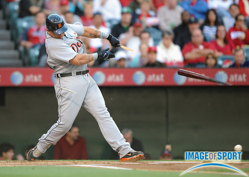May 26, 2008; Anaheim, CA, USA;  Detroit Tigers first baseman Miguel Cabrera (24) shatters his bat in the first inning against the Los Angeles Angels at Angel Stadium. Mandatory Credit: Kirby Lee/Image of Sport-US PRESSWIRE