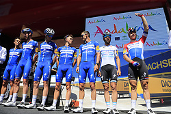 Deceuninck-Quick Step at sign on before the start of Stage 5 of La Vuelta 2019 running 170.7km from L'Eliana to Observatorio Astrofisico de Javalambre, Spain. 28th August 2019.<br /> Picture: Eoin Clarke | Cyclefile<br /> <br /> All photos usage must carry mandatory copyright credit (© Cyclefile | Eoin Clarke)