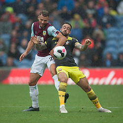 Erik Pieters of Burnley (L) and Danny Ings of Southampton in action - Mandatory by-line: Jack Phillips/JMP - 10/08/2019 - FOOTBALL - Turf Moor - Burnley, England - Burnley v Southampton - English Premier League