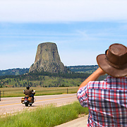 Devils Tower National Monument in northeastern Wyoming is a monolith made up of igneous rock, phonolite. The tower is held sacred by Native American tribes including the Arapaho, Crow, Cheyenne, Kiowa, Lakota, and Shoshone.  Devils Tower was a location for the movie Close Encounters of the Third Kind.<br /> Photography by Jose More