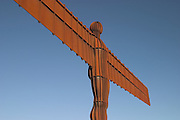 "Angel of the North is a modern sculpture designed by Antony Gormley in 1994, which is located in Gateshead, United Kingdom. As the name suggests, it is a steel sculpture of an angel, standing 66 feet (20 metres) tall, with wings measuring 178 feet (54 metres) across ? making it wider than the Statue of Liberty's height. The wings themselves are not planar, but are angled 3.5 degrees forward, which Gormley has said aims to create ""a sense of embrace"". It stands on a hill, on the southern edge of Low Fell overlooking the A1 road and the A167 road into Tyneside and the East Coast Main Line rail route. It has now come to be considered by some as a landmark for the North East of England and is one of the 12 official 'Icons of England'."