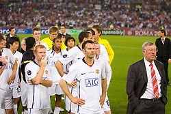 ROME, ITALY - Tuesday, May 26, 2009: Manchester United's manager Alex Ferguson, Ryan Giggs and Paul Scholes look dejected after his side lose 2-0 to Barcelona during the UEFA Champions League Final at the Stadio Olimpico. (Pic by Carlo Baroncini/Propaganda)