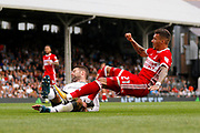 Middlesbrough midfielder Marvin Johnson (21) has a shot on goal during the EFL Sky Bet Championship match between Fulham and Middlesbrough at Craven Cottage, London, England on 23 September 2017. Photo by Andy Walter.