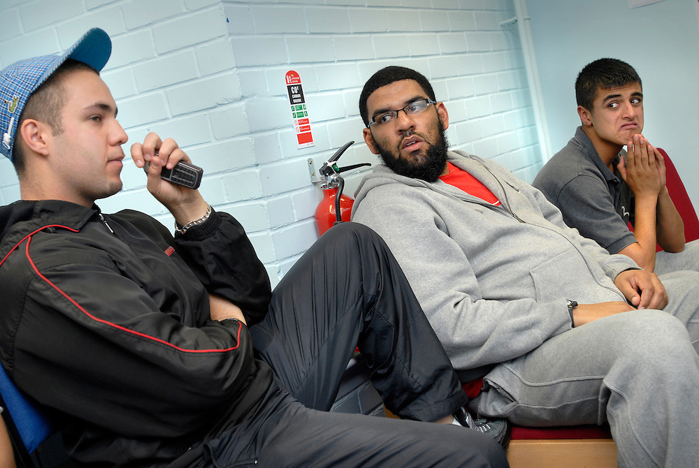 Birmingham, UK. Steve Bibb Cohesion worker at the Concord Youth Centre, Sparkbrook, Birmingham, with muslim and asian youth..