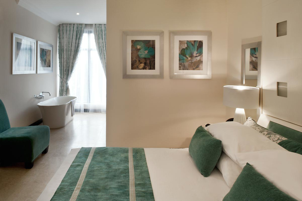Interior of Acqua Verde room. Architecture shots of Villa Monticelli, Accra, Ghana.