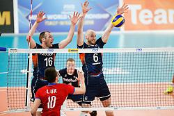 20170617 NED: FIVB Volleybal World League 2017 The Netherlands - Slovakia: Den Haag <br />Wouter Ter Maat (16) of The Netherlands, Jasper Diefenbach (6) of The Netherlands <br />©2017-FotoHoogendoorn.nl / Pim Waslander