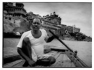 Ganga boatman off the ghats of Varanasi.