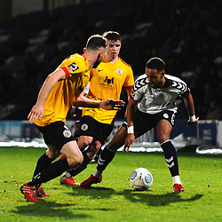 TELFORD COPYRIGHT MIKE SHERIDAN 1/12/2018 - Brendon Daniels(on loan from Port Vale) of AFC Telford battles for the ball during the Vanarama Conference North fixture between AFC Telford United and Bradford Park Avenue AFC.