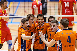 13-04-2019 NED: Achterhoek Orion - Draisma Dynamo, Doetinchem<br /> Orion win the fourth set and play the final round against Lycurgus. Dynamo won 2-3 / Peter Ogink #6 of Orion, Twan Wiltenburg #9 of Orion, Shalev Saada #5 of Orion, Pim Kamps #7 of Orion, Rob Jorna #21 of Orion