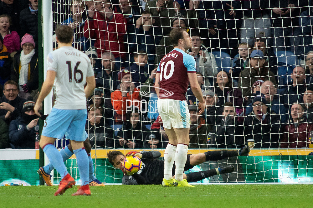 West Ham United goalkeeper Lukasz Fabianski (1) saves a header from West Ham United midfielder Manuel Lanzini (10) during the Premier League match between Burnley and West Ham United at Turf Moor, Burnley, England on 30 December 2018.