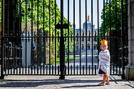 THE HAGUE - People are singing and standing in front of the Huis den Bosch palace where the kings lives today is his 53 birthday  kingsday 2020  is different because of coronacrisis the king stays inside