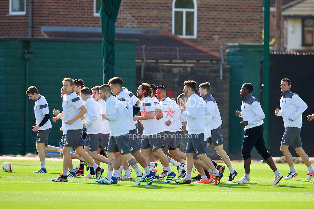 LIVERPOOL, ENGLAND - Wednesday, May 4, 2016: Liverpool players during a training session at Melwood Training Ground ahead of the UEFA Europa League Semi-Final 2nd Leg match against Villarreal CF. (Pic by David Rawcliffe/Propaganda)