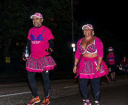 Pictured: Moonwalk Scotland, Edinburgh, Scotland, United Kingdom, 08 June 2019. The 14th Moonwalk Scotland 'Walk the Walk' night-time event with several thousand participants wearing specially decorated bras with a circus theme choose between New Moon (6.55 Miles), Half Moon Marathon (13.1 Miles), Full Moon Marathon (26.2 miles) and Over The Moon (52.4 Miles) to raise money  and awareness for breast cancer causes. The Moonwalkers en route.<br /> <br /> Sally Anderson   EdinburghElitemedia.co.uk