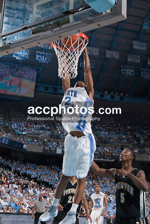 11 November 2006:  North Carolina Tar Heels guard (2) Wayne Ellington during a North Carolina Tar Heels 140-101 exhibition win over the Pfeiffer Falcons at the Dean Smith Center in Chapel Hill, NC.<br />