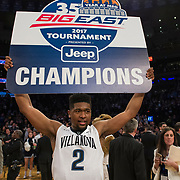March 11, 2017: Villanova Wildcats forward Kris Jenkins (2) holds The Big East Champion sign as he walks around the arena  at The 35th Big East Tournament during the game between The Villanova Wildcats and The Creighton Bluejays at Madison Square Garden, New York, New York. The Villanova Wildcats defeat The Creighton Bluejays 74-60 to win The Big East Championship. Mandatory credit: Kostas Lymperopoulos/CSM (Credit Image: © Kostas Lymperopoulos/Cal Sport Media)