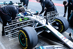 February 18, 2019 - Montmelo, BARCELONA, Spain - Valtteri Bottas fo Finland with 77 of Mercedes AMG Petronas Motorsport W10 at the pitlane with big aerodinamic sensors during the Formula 1 2019 Pre-Season Tests at Circuit de Barcelona - Catalunya in Montmelo, Spain on February 18. (Credit Image: © AFP7 via ZUMA Wire)