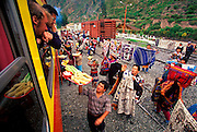 PERU, CUZCO - MACHU PICCHU TRAIN vendors at station in Urubamba Valley