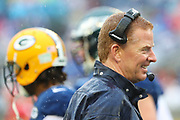 Jan 27, 2019; Orlando, FL, USA; NFC head coach Jason Garrett of the Dallas Cowboys smiles through the rain and wet conditions in the NFL Pro Bowl football game at Camping World Stadium.  The AFC beat the NFC 26-7. (Steve Jacobson/Image of Sport)
