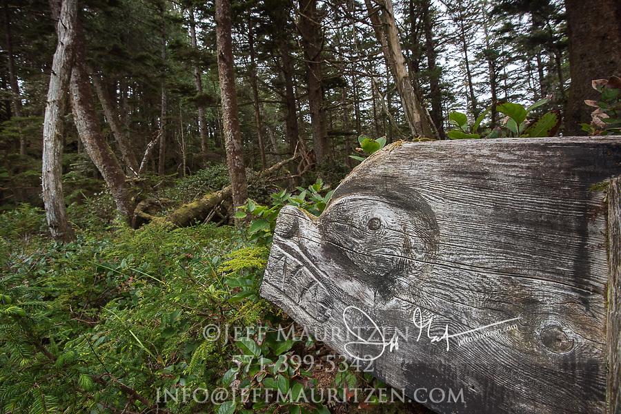 Haida Gwaii wooden carving in the forest on SGang Gwaii, Haida Gwaii, British Columbia, Canada.
