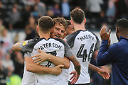 Derby County forward Chris Martin (19) and Derby County forward Jamie Paterson (7) celebrate after the final whistle during the EFL Sky Bet Championship match between Derby County and Birmingham City at the Pride Park, Derby, England on 28 September 2019.