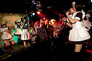 Maids from @home cafe in Akihabara performing at the CHARAPA party in Roppongi.