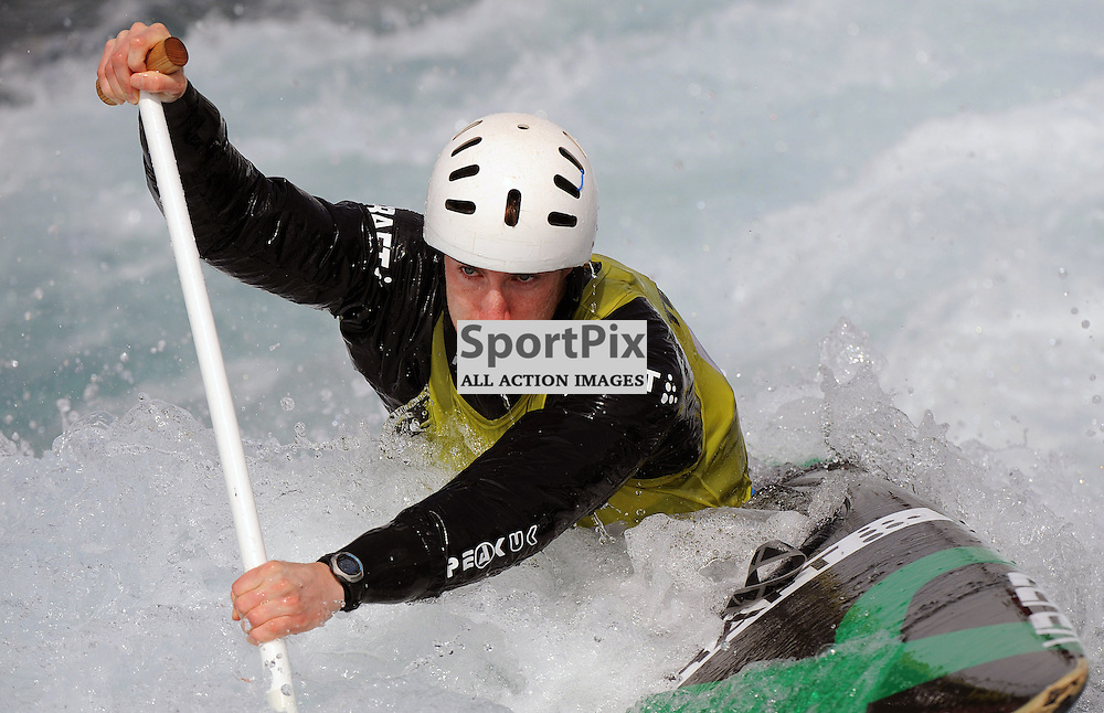 George Tatchell competing in the GB Canoe Slalom 2013 Selection Finals at the Lea Valley White water Centre, Hertfordshire, England. Held on the 28th April 2013..WAYNE NEAL | STOCKPIX.EU
