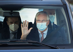 © Licensed to London News Pictures. 10/09/2020. London, UK. European Chief Brexit negotiator Michel Barnier waves at photographers as he drives in central London ahead of a second day of negotiations between the UK Government and the EU. Photo credit: Peter Macdiarmid/LNP