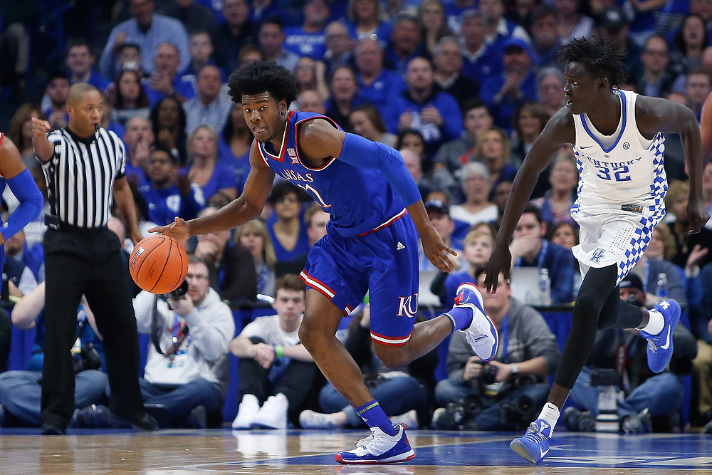 Kansas Jayhawks guard Josh Jackson drives up court against the Kentucky Wildcats on Saturday January 28, 2017 at Rupp Arena in Lexington, Ky. Photo by Michael Reaves | Staff