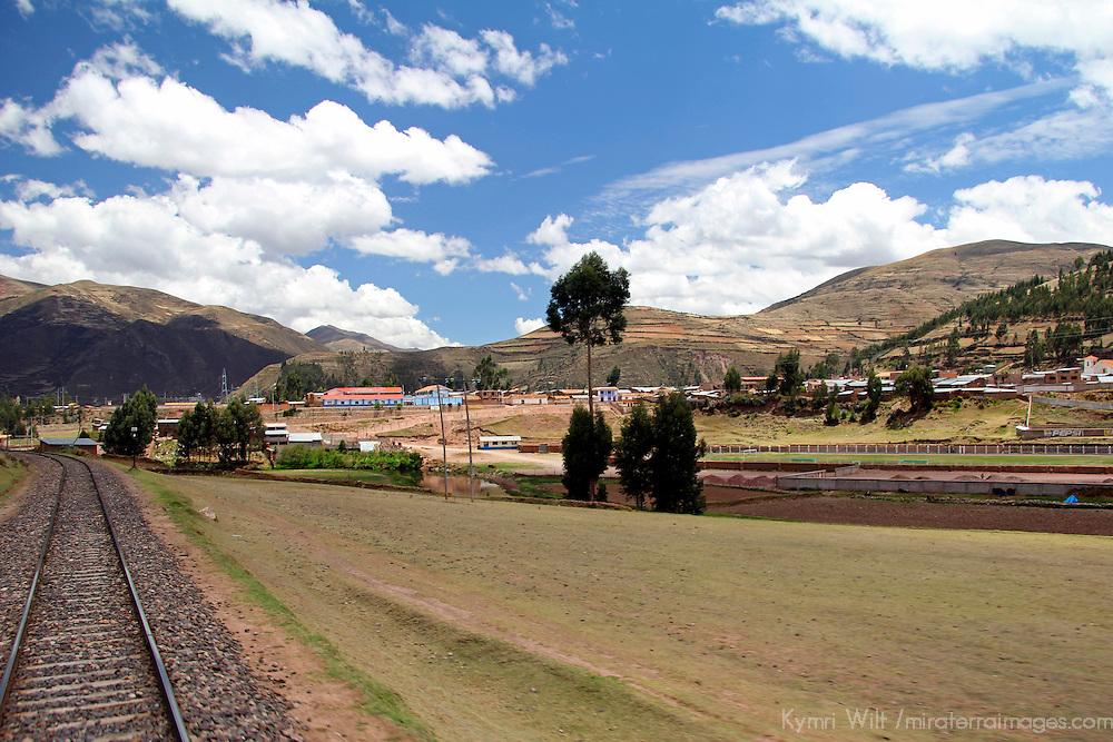 South America, Peru, Cusco. Train tracks of Peru Rail's Andean Explorer first class train journey from Cusco to Puno.
