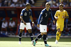 June 16, 2018 - Kazan, Kazan, Russia - Kylian Mbappe (#10), Antoine Griezman (#7) of France and  Australia's defender Joshua Risdon (R, #19)  during the 2018 FIFA World Cup Russia group C match between France and Australia at Kazan Arena on June 16, 2018 in Kazan, Russia. (Credit Image: © Mehdi Taamallah/NurPhoto via ZUMA Press)