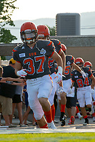 KELOWNA, BC - AUGUST 3:  Brody Mcpherson #37 of Okanagan Sun runs onto the field at the start of the home opener against the Kamloops Broncos at the Apple Bowl on August 3, 2019 in Kelowna, Canada. (Photo by Marissa Baecker/Shoot the Breeze)