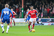 Swindon Town's goal scorer Jonathan Obika on the ballduring the Sky Bet League 1 match between Swindon Town and Gillingham at the County Ground, Swindon, England on 26 December 2015. Photo by Shane Healey.