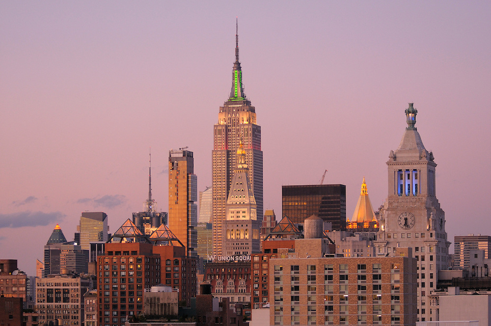 evening view with Empire State Building from the Cooper Square Hotel, Cooper Square, East Village, Manhattan, New York, New York, USA