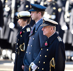 © London News Pictures. 10/11/2013. London, UK. L to R Princess Anne, Prince William and Prince Philip attend a Remembrance Day Ceremony at the Cenotaph war memorial in London, United Kingdom, on November 10, 2013 . Royalty and Politicians joined the rest of the county in honouring the war dead by gathering at the iconic memorial to lay wreaths and observe two minutes silence. Photo Credit: Ben Cawthra/LNP