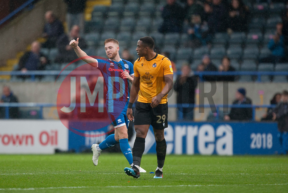 Callum Camps of Rochdale (L) celebrates after scoring his sides first goal - Mandatory by-line: Jack Phillips/JMP - 02/11/2019 - FOOTBALL - Crown Oil Arena - Rochdale, England - Rochdale v Bristol Rovers - English Football League One