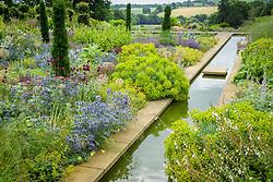 Narrow canal and borders at Broughton Grange. Planting includes Eryngium x zabelii, Allium sphaerocephalon, Stachys byzantina and Taxus baccata 'Fastigiata'. Design: Tom Stuart-Smith