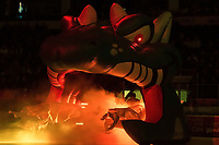 KELOWNA, CANADA - NOVEMBER 25: The Kelowna Rockets enter the ice through the dragon against the Medicine Hat Tigers on November 25, 2017 at Prospera Place in Kelowna, British Columbia, Canada.  (Photo by Marissa Baecker/Shoot the Breeze)  *** Local Caption ***