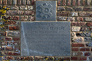 A memorial for Captain Thomas Craufurd of the 3rd Guards who died at Hougoumont Farm during the Battle of Waterloo, on 25th March 2017, at Waterloo, Belgium. The farm became an epicentre of fighting in the Battle as it was one of the first places where British and other allied forces faced Napoleon's Army. 12,000 allied troops defending 14,000 French. The Battle of Waterloo was fought on 18 June 1815. A French army under Napoleon Bonaparte was defeated by two of the armies of the Seventh Coalition: an Anglo-led Allied army under the command of the Duke of Wellington, and a Prussian army under the command of Gebhard Leberecht von Blücher, resulting in 41,000 casualties.