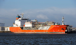 Happy Condor LPG ship in the port area where the new jetty will be built. Grangemouth refinery. The Sun had access to the plant for a 'year on' tale (last year the plant closed following strike action - this is an update piece).