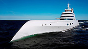 """Yacht for the Russian Billionaire <br /> Equipped with three splendid pools and numerous wonderful trifles – this very expensive yacht belonging to a Russian oligarch, Andrey Melnichenko, is so awesome that Caligula himself would die of envy! Though it is named in a rather modest way, """"A"""".<br /> <br /> The vehicle that sooner resembles a submarine than a posh liner cost 300 million dollars! This is how much Melnichenko paid for the sailing paradise, whose handles alone are estimated at 40 000 dollars. This would be enough to study for a couple of years at Harvard with the world's best teachers…<br /> <br /> Andrey Melnichenko is a billionaire who gathered his wealth by himself – initially by creating a currency exchange network, later – by having bank, coal and fertilizer businesses.<br /> <br /> His name was repeatedly mentioned in Forbes. In 2005, he married a Serbian model and pop-singer, Alexandra. The wedding was celebrated in the south of France.<br /> <br /> Buying such a boat didn't leave a hole in the savings of Melnichenko because his savings amount to 11,5 billion dollars. Such capital would allow us to think that a touchscreen navigator, bullet-proof glass and a rotating bed are not luxuries at all.<br /> <br /> The designer made a really luxurious interior. For example, one room has stingray skin covered walls, another one – walls covered by hand stitched calf leather.<br /> <br /> The length of the yacht is 120 meters (could be compared with a football field and a basketball field located end to end). Handrails alone cost 60 thousand dollars. By the way, Melnichenko can have a helicopter on the yacht if he wants.<br /> ©Exclusivepix Media"""