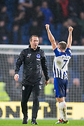 Graham Potter, Head Coach of Brighton & Hove Albion FC & Neal Maupay (Brighton) celebrate at the end of the game during the Premier League match between Brighton and Hove Albion and Everton at the American Express Community Stadium, Brighton and Hove, England on 26 October 2019.