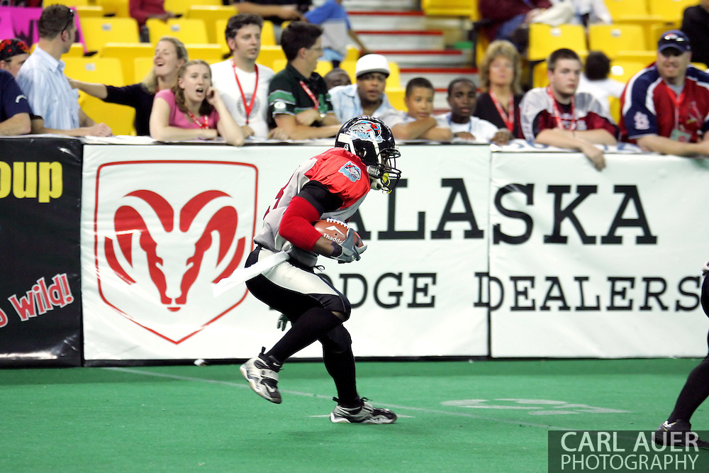 6-28-2007: Anchorage, AK - CenTex's Olan Coleman (3) on a kick return as the CenTex Barracudas hand the Alaska Wild another loss 53-47 as the Barracudas make the trip up to Alaska.
