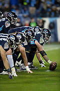 The Tennessee Titans offensive line gets set to snap the ball at the line of scrimmage during the week 14 regular season NFL football game against the Jacksonville Jaguars on Thursday, Dec. 6, 2018 in Nashville, Tenn. The Titans won the game 30-9. (©Paul Anthony Spinelli)